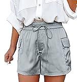 EUCoo Pantalones cortos de verano con cordón elástico en la cintura para mujer, lisos, sueltos, cómodos, con pierna ancha y bolsillos