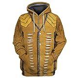 Sudadera con capucha de impresión 3d india nativa primavera otoño harajuku cremallera casual jersey, Sudadera con capucha con cremallera 3D, XXXXL