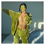 XHHDP Mujeres de 2 Piezas de chándal de 2 Piezas de Rhinestone Letra imprimida Terciopelo Manga Larga con Capucha Cremallera Pantalones Trajes de Streetwear (Color : Green, Size : L)