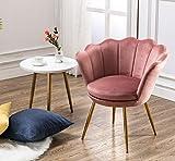 Wahson Sillón Lounge Terciopelo con Patas de Metal Chapadas en Oro, Butacas de Salón para Dormitorio/Tocador/Recepción (Rosa)