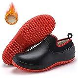 SUNNFLOOWER Zapatos de Chef Profesionales Antideslizantes, Zapatos de Seguridad de Cocina Unisex, Botas de Trabajo con Forro de Invierno y Resistentes a Terciopelo, a Prueba de Aceite (Rojo,42)