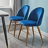 Juego de 2 sillas de comedor CLIPOP en terciopelo con respaldo, estructura de madera y patas de metal robustas, para sala de estar, cocina, oficina y restaurante