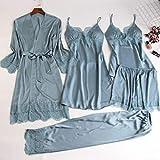 Pijama Pijamas De Seda para Mujer, Conjuntos De 5 Piezas, Pijama De Satén De Encaje Sexy para Mujer, Pijama De Verano, Ropa De Dormir Sexy para Mujer, Almohadillas para El Pecho XXL Azul