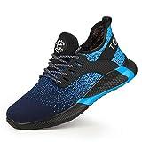 TQGOLD® Zapatillas de Seguridad con Punta de Acero S3 Hombre Mujer Zapatos de Trabajo Azul Terciopelo 40