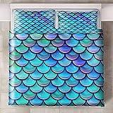 GJKIEB Funda nórdica Impresa en 3D Escamas de Pescado Azul Violeta Olas suculentas Que No Decolora Microfibra,Funda de Nórdica Suaves y Cómodas 240xmx220cm 2 Fundas de Almohada:50cmx75cm