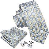 NJZYB Corbata para hombre 100% seda jacquard tejido azul amarillo floral para hombres novio (Color : A, Size : One size)