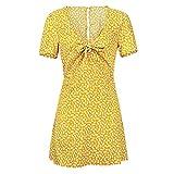 ShFhhwrl Dresses Vestidos Mujervestido Estilo Dama Vestido Estampado Floral Vintage con Cuello En V Casual Primavera Manga Corta Mini Vestido XL Amarillo