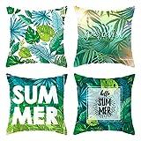 Daesar Funda de Cojin Pack de 4,Cojines Decoracion Sin Relleno,Summer Hello Summer Hojas de Palma Fundas Cojines Terciopelo 50x50 Verde Azul Verde