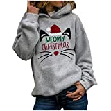Sudadera con capucha de gran tamaño para mujer, diseño de gatos, sudadera de Navidad, sudadera con capucha, estilo vintage, gris, XL