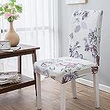 Wyxy Fundas para sillas de Comedor, Juego de 4 Fundas para sillas, Color Crema, Violeta y Gris, Fundas para sillas de Comedor de Elastano, Fundas elásticas, extraíbles, fáciles de Lavar, Fundas p