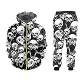 BLACKHEI Conjunto de pantalones y chaquetas 3D Blackjogging para hombre Hip Hop Skull Print Chándales, Zhpa60299, 5X-Large