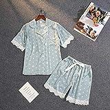 Pijama Inicio Ropa para Mujer Pijama De Verano Mujer Pijama De Seda para Mujer Conjunto De Ropa De Dormir De Encaje Sexy Homewear Pijama XL Verde